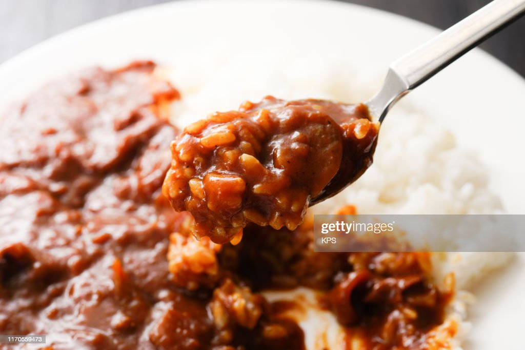 Hayashi rice. Rice with hashed beef. : Stock Photo