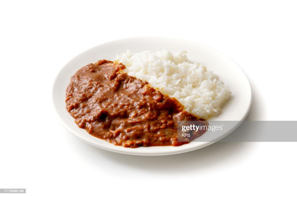 Hayashi rice. Rice with hashed beef. : Stock Photo