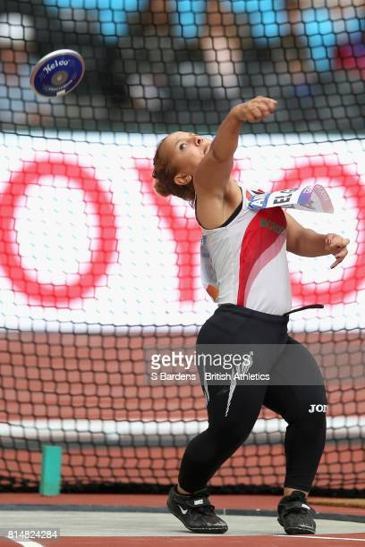 Hayat El Garaa of Morocco competes in the Women's Discus Throw F41 Final during Day Two of the IPC World ParaAthletics Championships 2017 at London...