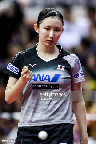 Hayata Hina of Japan in action at the women's doubles quarterfinal compete with Ng Wing Nam and Soo Wai Yam Minnie of Hong Kong China during the 2018...