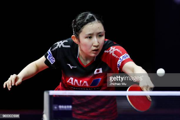 Hayata Hina of Japan in action at the women's singles match compete with Solja Amelie of Austria during the 2018 ITTF World Tour China Open on June 1...