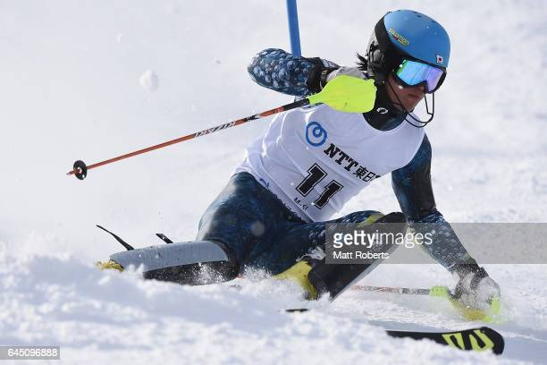 Hayata Wakatsuki of Japan competes in men's slalom alpine skiing on the day eight of the 2017 Sapporo Asian Winter Games at Sapporo Teine on February...