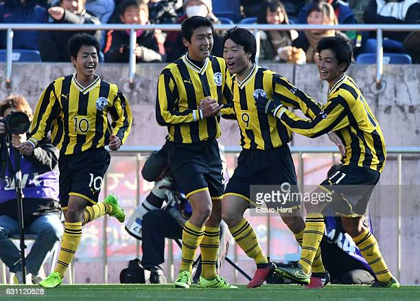 Hayate Takazawa of Maebashi Ikuei celebrates scoring his team's first goal during the 95th All Japan High School Soccer Tournament semi final match...