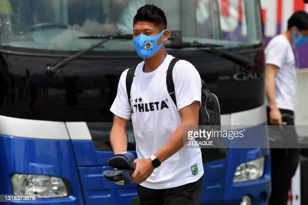 Hayate TAKE of Blaublitz Akita is seen on arrival at the stadium prior to the J.League Meiji Yasuda J2 match between Ventforet Kofu and Blaublitz...