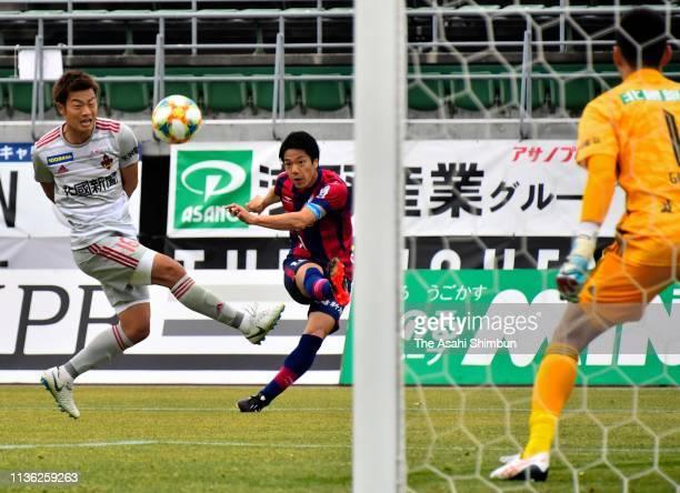 Hayato Nakama of Fagiano Okayama scores the opening goal during the J.League J2 match between Fagiano Okayama and Zweigen Kanazawa at City Light...