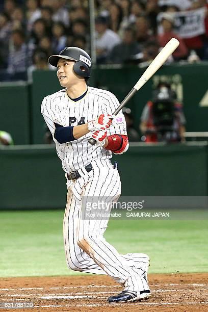 Hayato Sakamoto of Japan bats during the international friendly match between Japan and Netherlands at the Tokyo Dome on November 12 2016 in Tokyo...