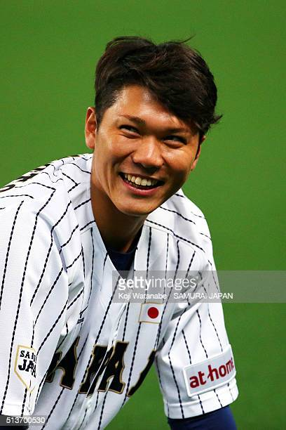 Hayato Sakamoto of Japan during practice prior to the international friendly game between Japan and Chinese Taipei on March 4 2016 in Nagoya Japan