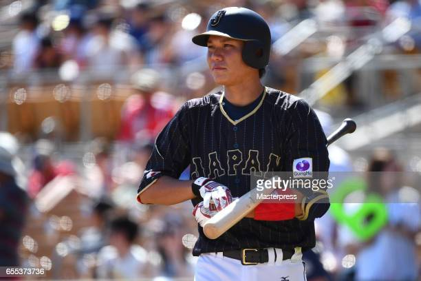 Hayato Sakamoto of Japan is seen during the exhibition game between Japan and Los Angeles Dodgers at Camelback Ranch on March 19 2017 in Glendale...