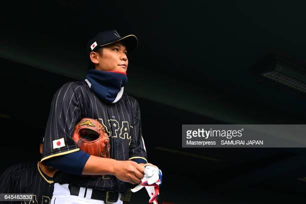 Hayato Sakamoto of Japan looks on during SAMURAI JAPAN's training camp at the Sun Marine Stadium Miyazaki on February 26 2017 in Miyazaki Japan