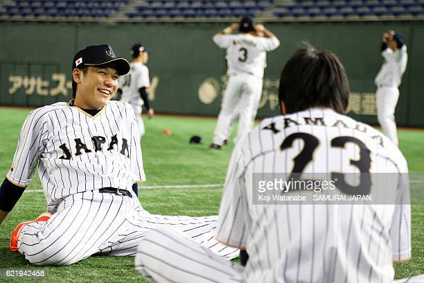 Hayato Sakamoto of Samurai Japa looks on during the Japan national baseball team practice session at the Tokyo Dome on November 9 2016 in Tokyo Japan