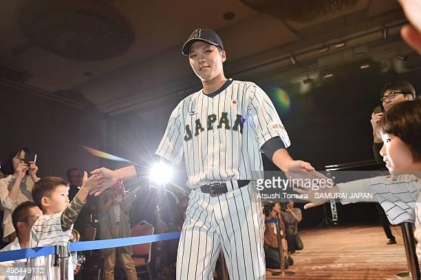 Hayato Sakamoto of Samurai Japan attends a farewell party at Fukuoka Dome on November 3 2015 in Fukuoka Japan