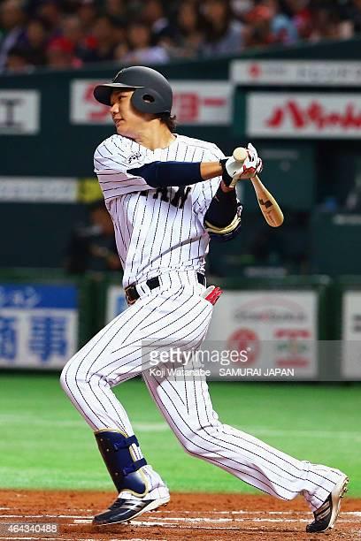 Hayato Sakamoto of Samurai Japan bats during the friendly match between Samurai Japan and Fukuoka SoftBank Hawks Hokkaido Nipponham Fighters at...