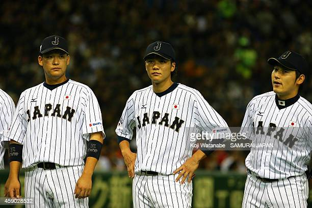 Hayato Sakamoto of Samurai Japan lineup during the game three of Samurai Japan and MLB All Stars at Tokyo Dome on November 15 2014 in Tokyo Japan