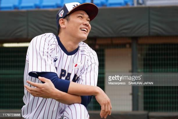 Hayato Sakamoto of Samurai Japan smiles during a Samurai Japan training session on November 3 2019 in Taoyuan Taiwan