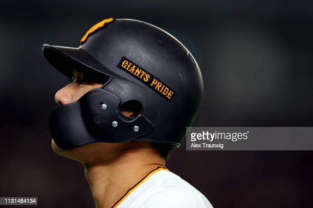 Hayato Sakamoto of the Yomiuri Giants looks on during an exhibition game against the Seattle Mariners for the 2019 Opening Series at the Tokyo Dome...