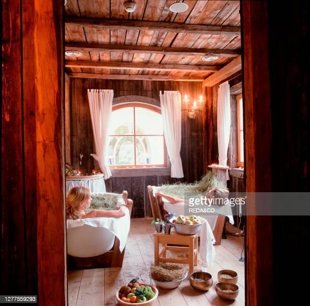 Hay-bath. Hotel Mirabell. Valdaora. Val Pusteria. Trentino Alto Adige. Italy.