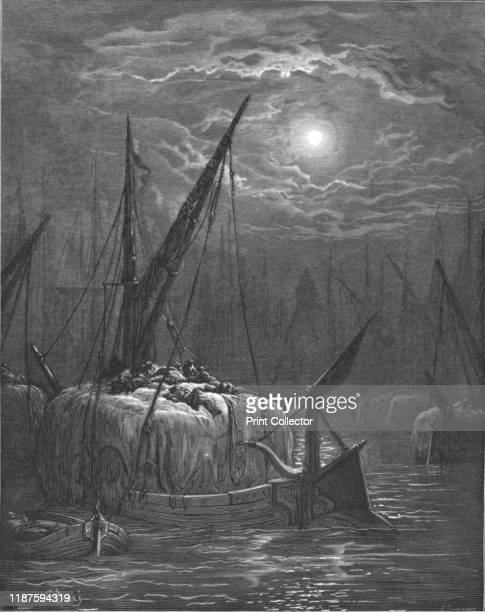 Hayboat on the Thames' 1872 From LONDON A Pilgrimage by Gustave Dore and Blanchard Jerrold [Grant and Co 7278 Turnmill Street EC 1872] Artist Gustave...