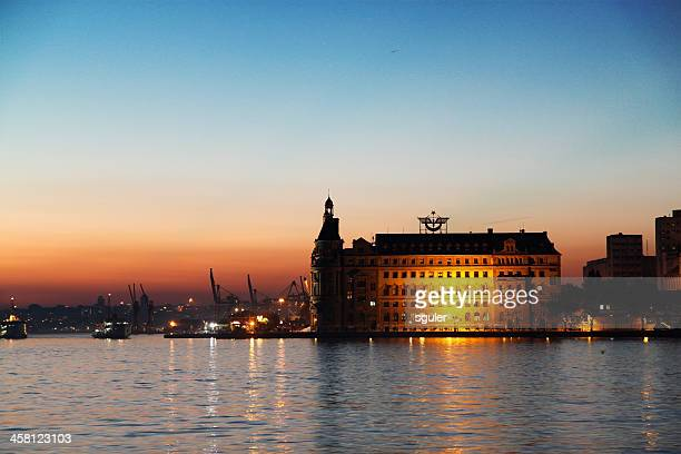 haydarpasa port at dusk - haydarpasa stock photos and pictures
