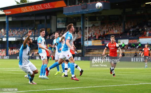 Hayden Carter of Blackburn Rovers scores an own goal during the Sky Bet Championship match between Luton Town and Blackburn Rovers at Kenilworth Road...