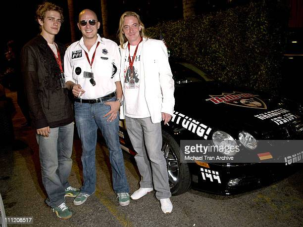Hayden Christensen Alex Roy and Stewart Stanley during Bullrun Rally Party July 22 2005 at Hotel Roosevelt in Hollywood California United States