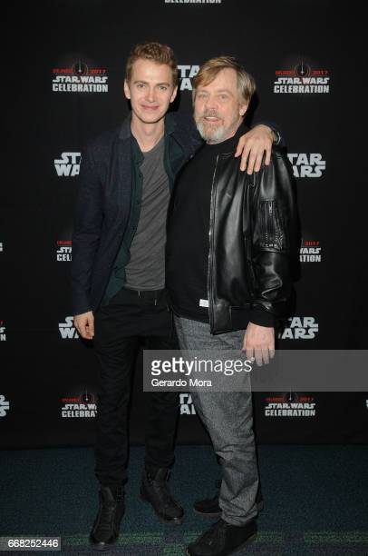 Hayden Christensen and Mark Hamill attend the 40 Years of Star Wars panel during the 2017 Star Wars Celebration at Orange County Convention Center on...