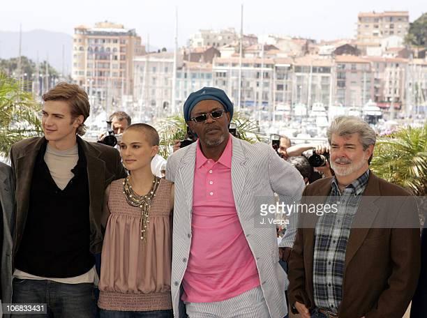 Hayden Christensen Natalie Portman Samuel L Jackson and George Lucas
