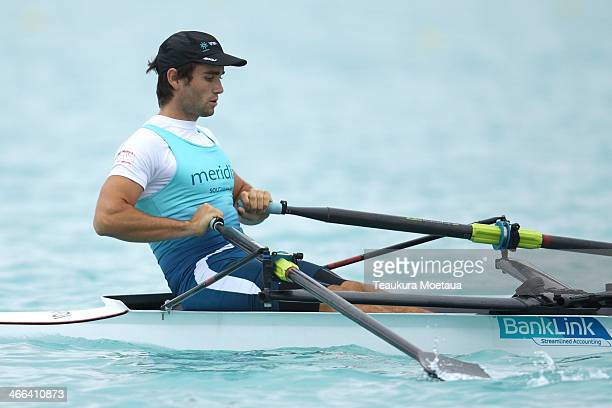 Hayden Cohen of Southern RPC makes his way to the start of the Mens open single sculls final during the South Island Club Championships at Lake...