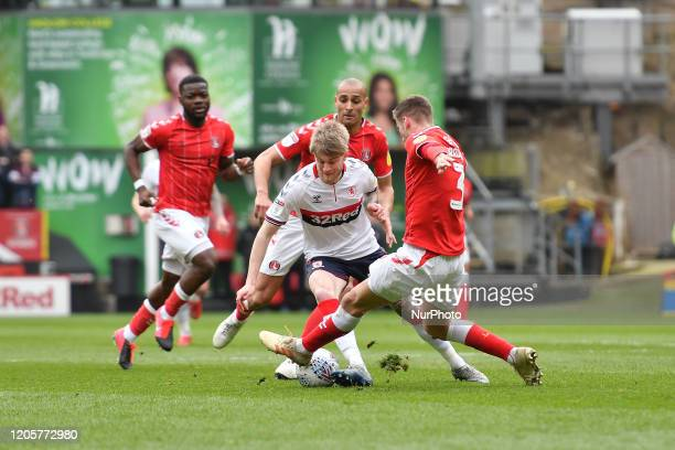 Hayden Coulson and Ben Purrington in action during the Sky Bet Championship match between Charlton Athletic and Middlesbrough at The Valley London on...