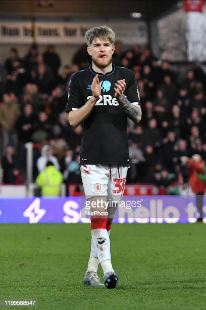 Hayden Coulson of Middlesbrough applauds fans after the Sky Bet Championship match between Brentford and Middlesbrough at Griffin Park on February 8...