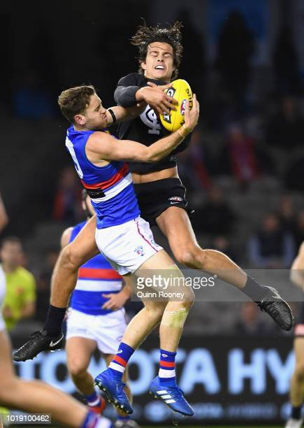 Hayden Crozier of the Bulldogs and Jack Silvagni of the Blues compete for a mark during the round 22 AFL match between the Carlton Blues and the...