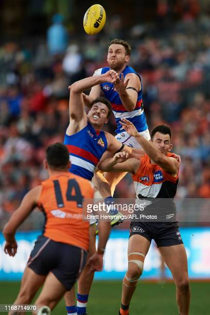 Hayden Crozier of the Bulldogs attempts to take a mark during the round 22 AFL match between the Greater Western Sydney Giants and the Western...