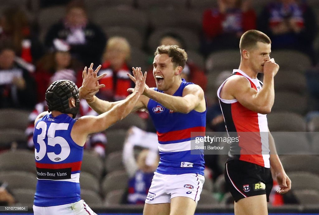 Hayden Crozier of the Bulldogs celebrates after kicking a goal during the round 20 AFL match between the St Kilda Saints and the Western Bulldogs at Etihad Stadium on August 4, 2018 in Melbourne, Australia.