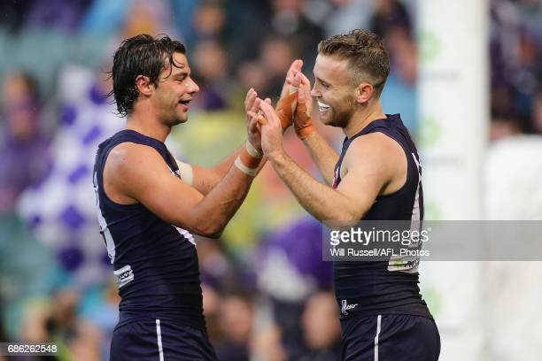 Hayden Crozier of the Dockers celebrates after scoring a goal during the round nine AFL match between the Fremantle Dockers and the Carlton Blues at...