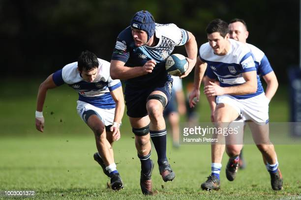 Nela Latu of University wins lineout ball during the match between University RFC and College Rifles on July 21 2018 in Auckland New Zealand