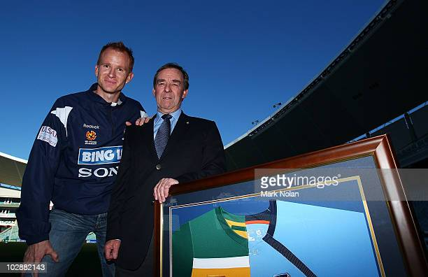 Hayden Foxe of Sydney FC and former socceroo Ted Smith pose for a photo during the launch of Sydney FC's new former Socceroos Club membership at the...