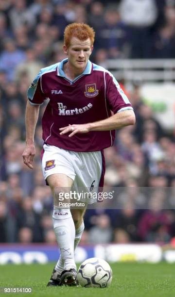 Hayden Foxe of West Ham United in action during the FA Carling Premiership game between West Ham United and Everton at Upton Park in London on March...