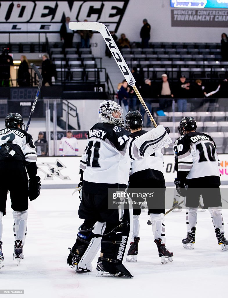 Hayden Hawkey #31 of the Providence College Friars salutes the fans after a 2-2 tie against the Denver Pioneers NCAA hockey at the Schneider Arena on December 30, 2016 in Providence, Rhode Island.