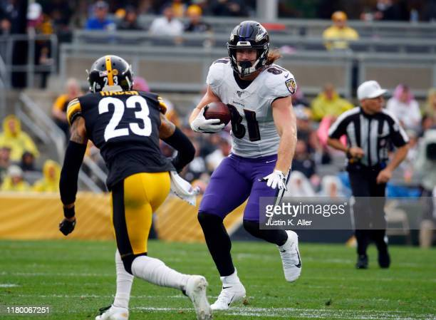 Hayden Hurst of the Baltimore Ravens in action against the Pittsburgh Steelers on October 6 2019 at Heinz Field in Pittsburgh Pennsylvania
