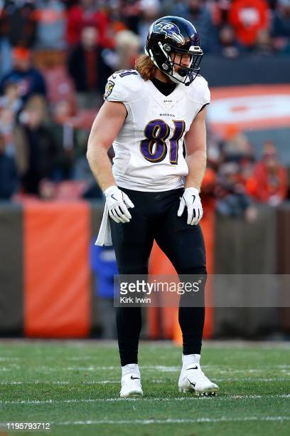 Hayden Hurst of the Baltimore Ravens lines up for a play during the game against the Cleveland Browns at FirstEnergy Stadium on December 22 2019 in...