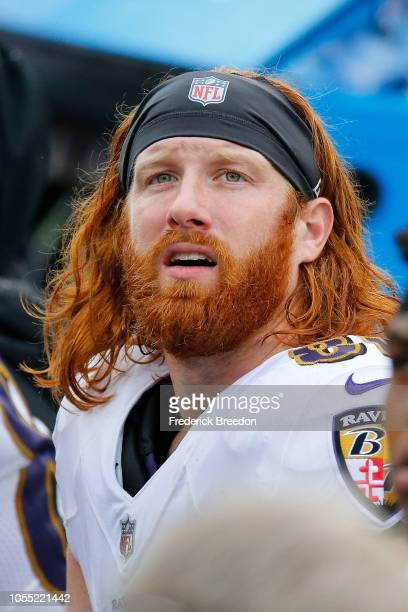 Hayden Hurst of the Baltimore Ravens watches from the sideline during a game against the Tennessee Titans at Nissan Stadium on October 14 2018 in...