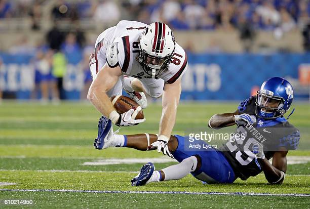 Hayden Hurst of the South Carolina Gamecocks dives ahead for extra yards against the Kentucky Wildcats at Commonwealth Stadium on September 24 2016...