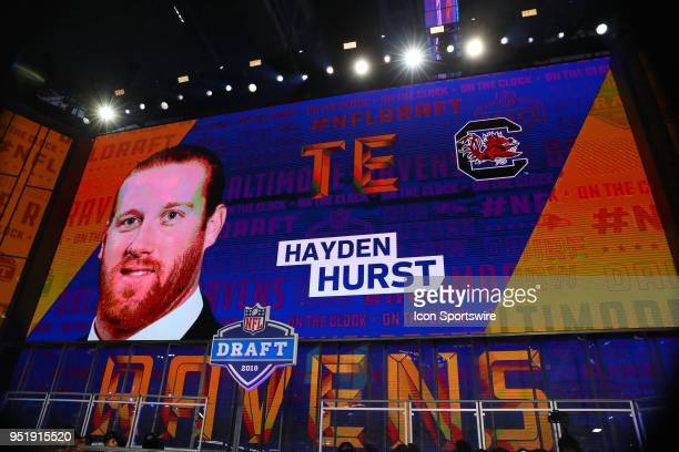 Hayden Hurst on the video board after being chosen by the Baltimore Ravens with the 25th pick during the first round at the 2018 NFL Draft at ATT...