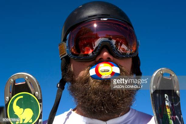 Hayden Lapointe of Minturn Colorado with his Colorado flag mouth guard poses for a portrait during the 70th annual Leadville Ski Joring weekend...