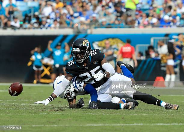 Hayden of the Jacksonville Jaguars attempts a reception against Dontrelle Inman of the Indianapolis Colts during the game on December 02, 2018 in...