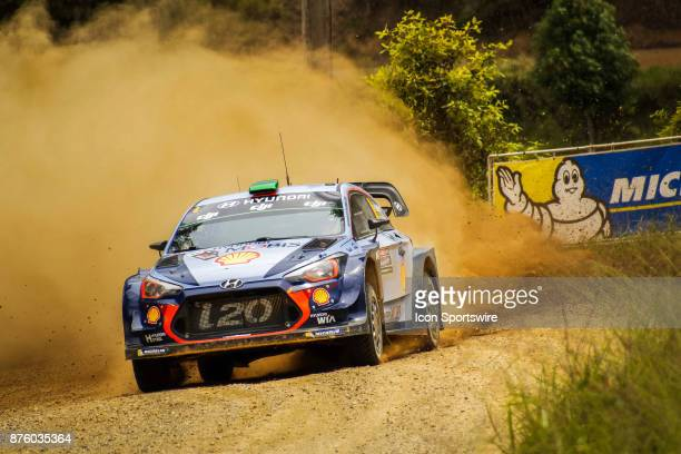 Hayden Padden and codriver Sebastian Marshall of Hyundai Motorsport compete in the Argents section on day two of the Rally Australia round of the...