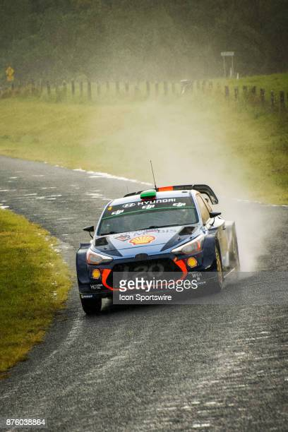 Hayden Padden and codriver Sebastian Marshall of Hyundai Motorsport compete in the rain on day two of the Rally Australia round of the 2017 FIA World...