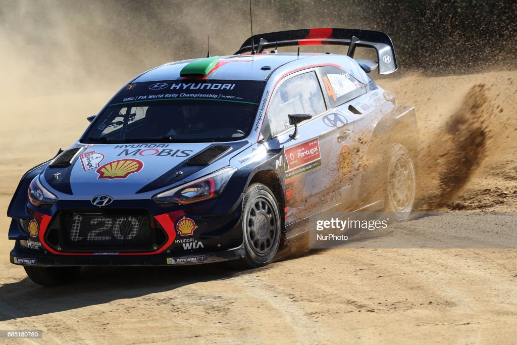 Hayden Paddon and John Kennard in Hyundai i20 Coupe WRC of Hyundai Motorsport in action during the shakedown of WRC Vodafone Rally de Portugal 2017, at Matosinhos in Portugal on May 18, 2017.