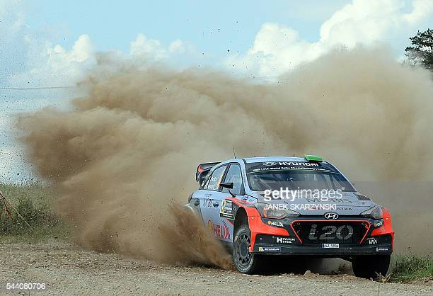 Hayden Paddon from New Zealand and codriver John Kennard also from New Zealand drive their Hyundai N i20 WRC during the special stage of the Rally...