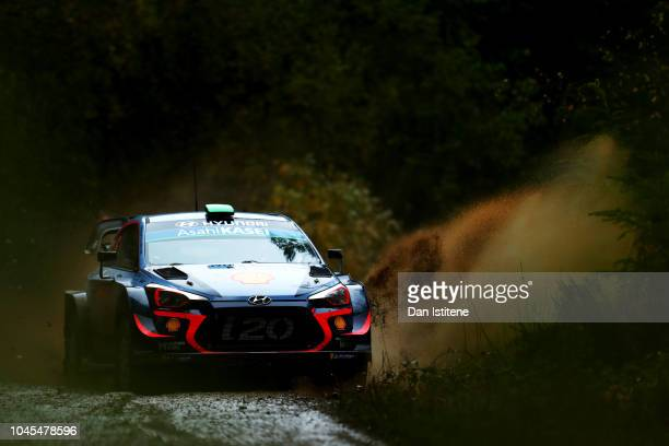 Hayden Paddon of New Zealand and Hyundai Shell Mobis WRT drives with codriver Sebastian Marshall of Great Britain during the Shakedown on day one of...