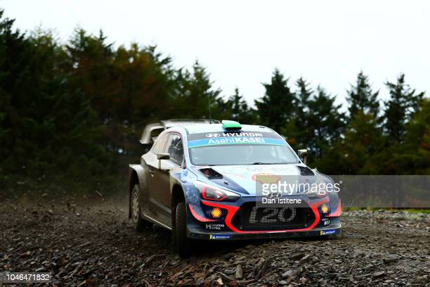 Hayden Paddon of New Zealand and Hyundai Shell Mobis WRT drives with codriver Sebastian Marshall of Great Britain during the Sweet Lamb stage on day...